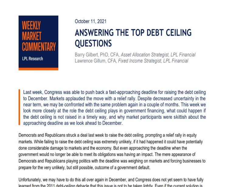 Answering the Top Debt Ceiling Questions | Weekly Market Commentary | October 11, 2021